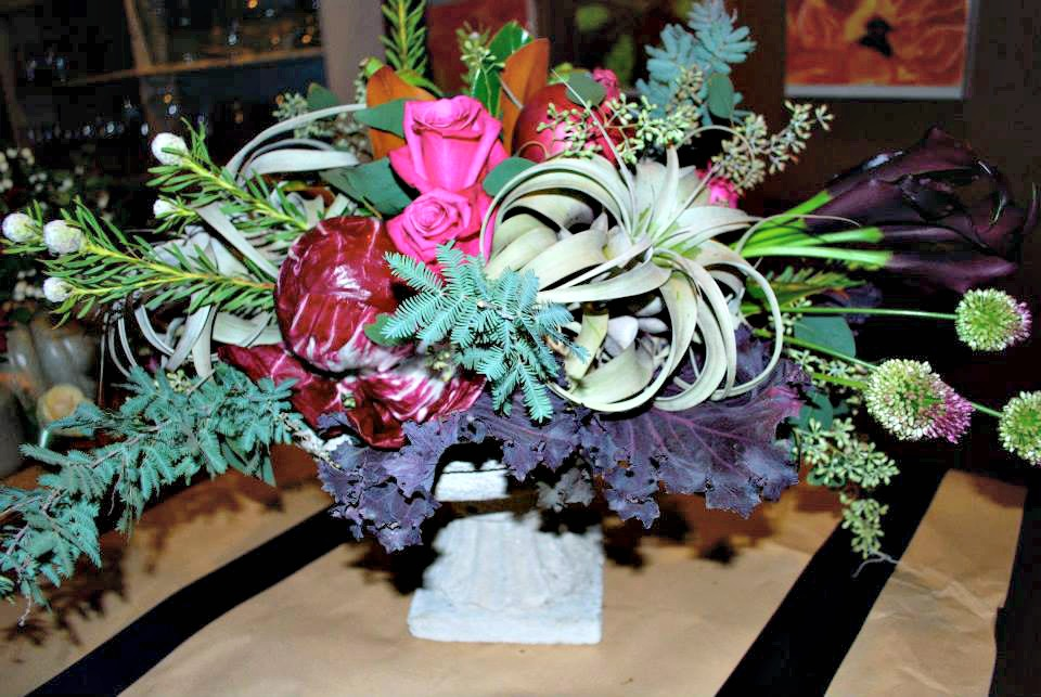 red cabbage kale thistle and an airplant unusual components