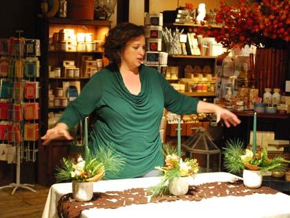 Lisa's Thanksgiving centerpiece features a natural woodland design.