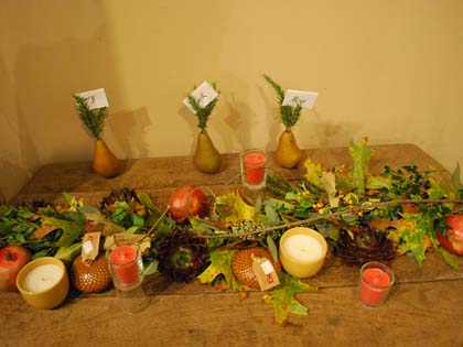 The pear place card holders in Richard's Thanksgiving design were inspired by Dorchester's Clapp pear heritage.